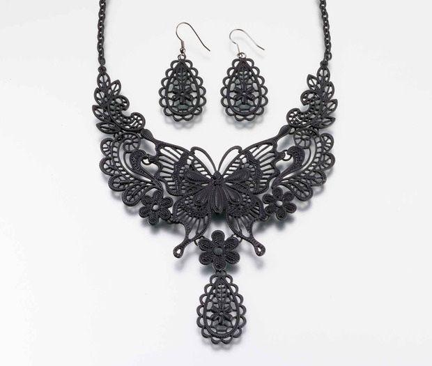 Black Butterfly Jewelry Set