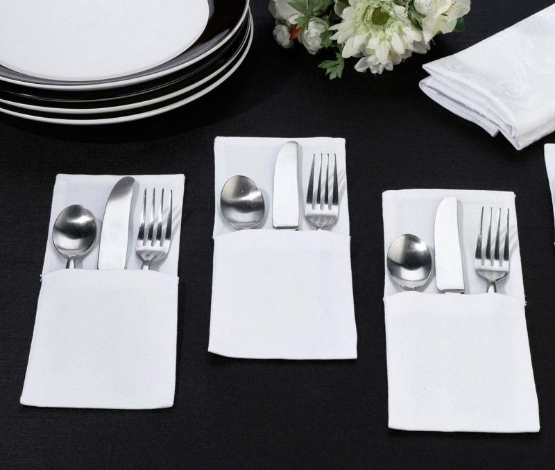 4 White Silverware Holder