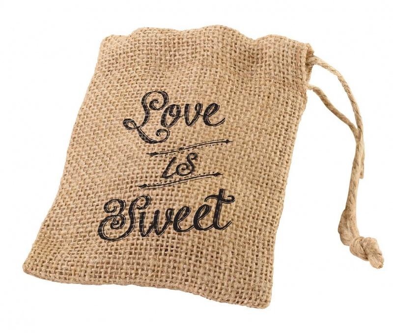 4 Rustic Burlap Favor Bags
