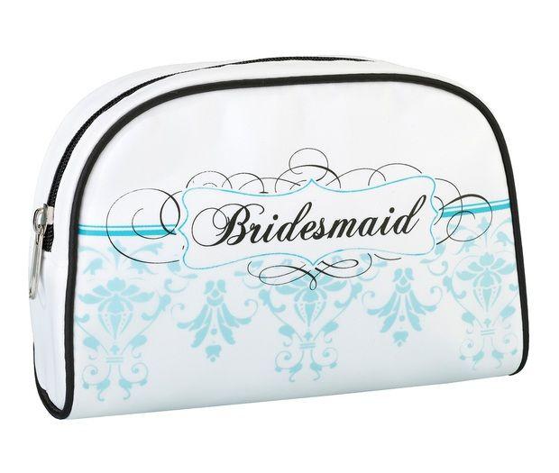 Aqua Bridesmaid Travel Makeup Bag