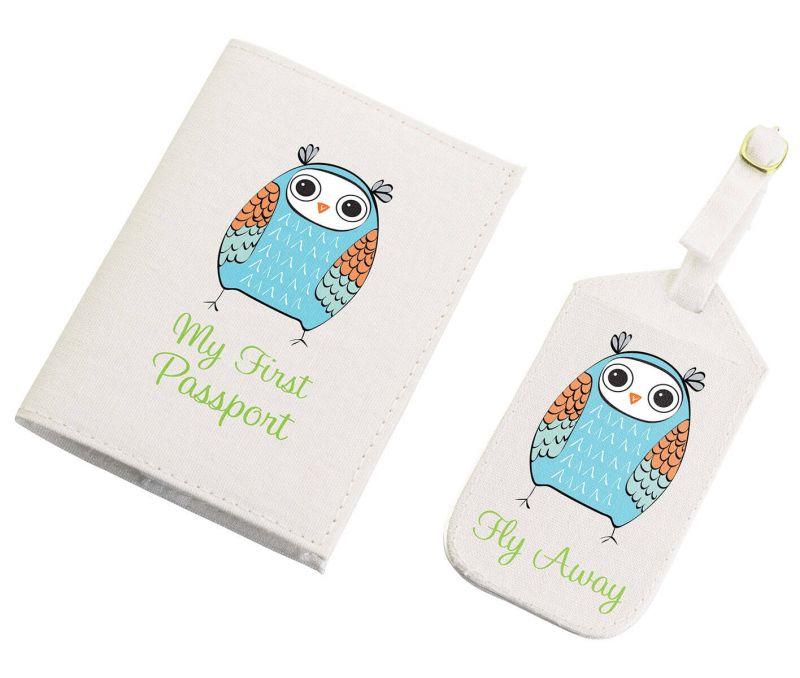 Blue Owl Luggage Tag & Passport Set