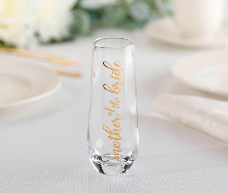Mother Of The Bride Stemless Champagne Glass And Wedding Toasting Glass