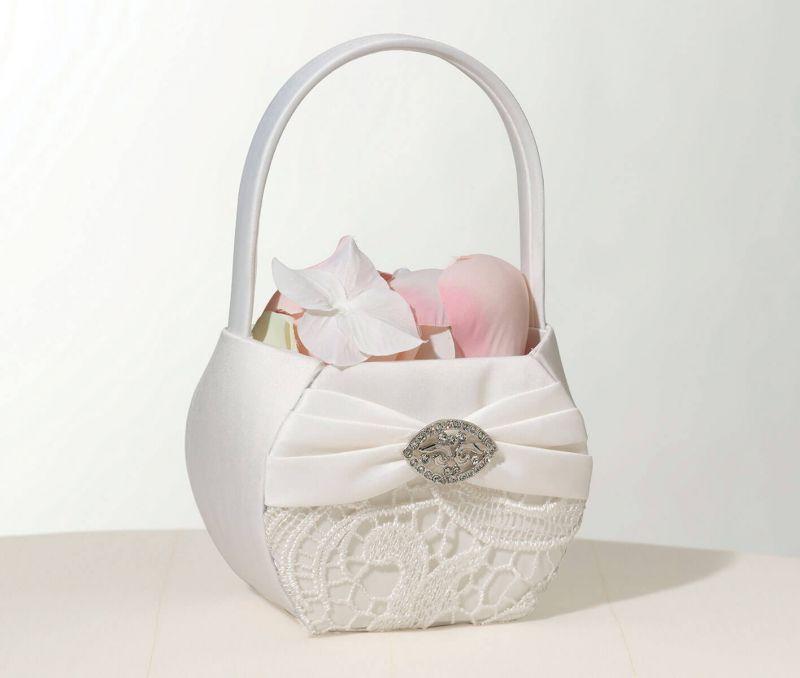 Vintage Cream Lace Flower Girl Basket