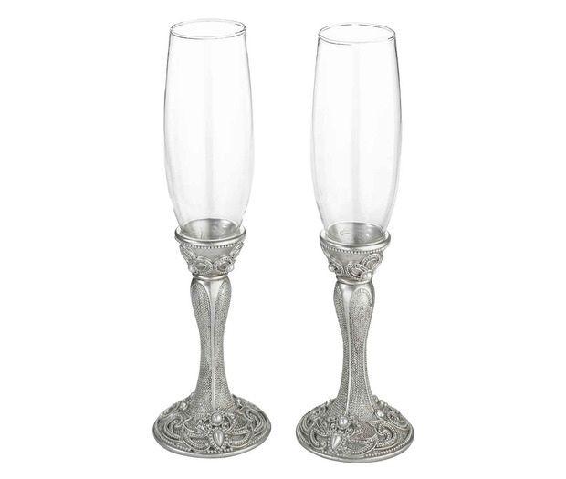 Elegant Silver Jeweled Toasting Glasses