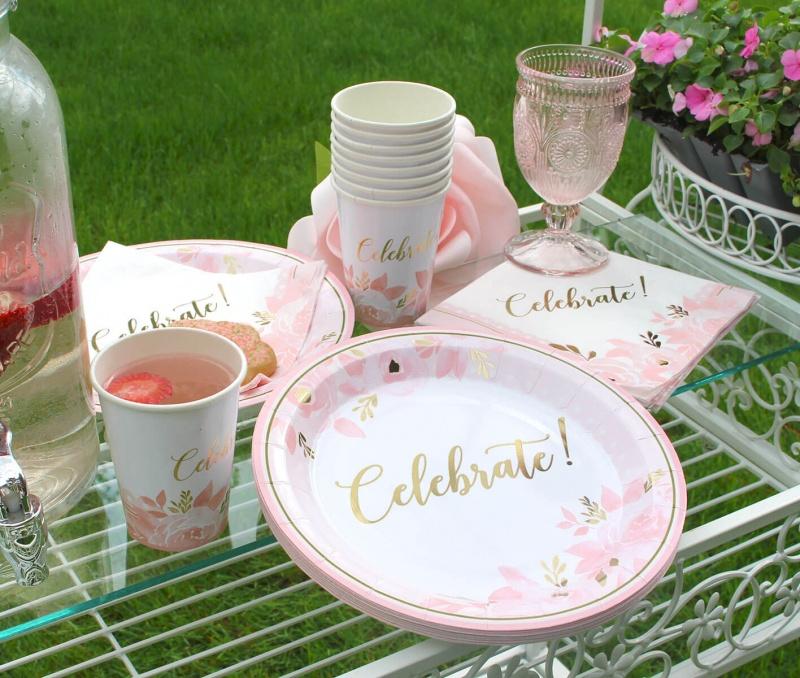 Pink And Gold Bridal Shower Celebration Set