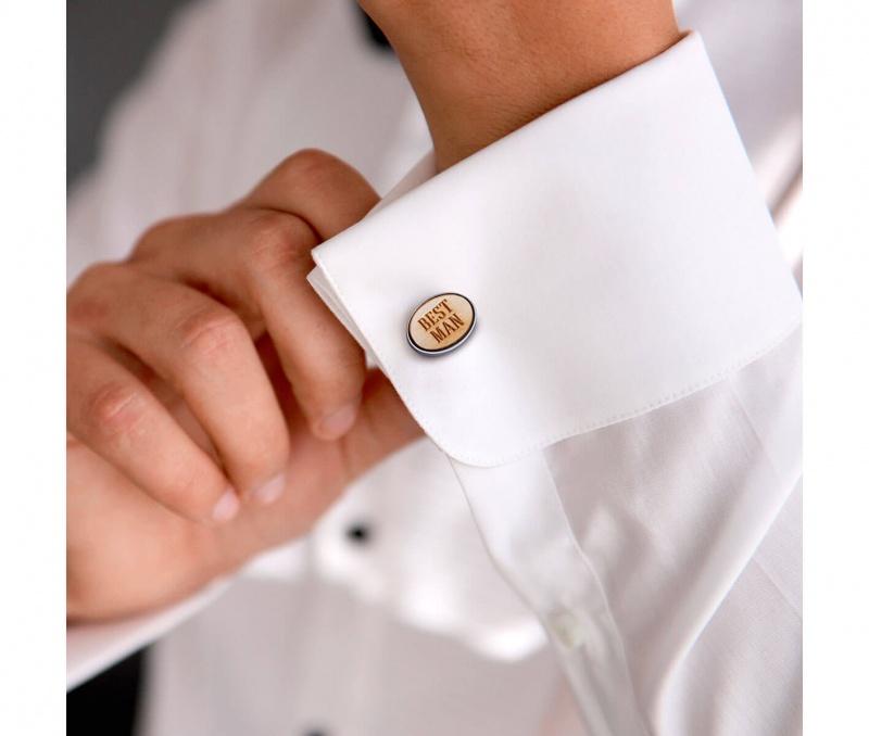 Best Man Wood Cufflinks & Tie Tack Set