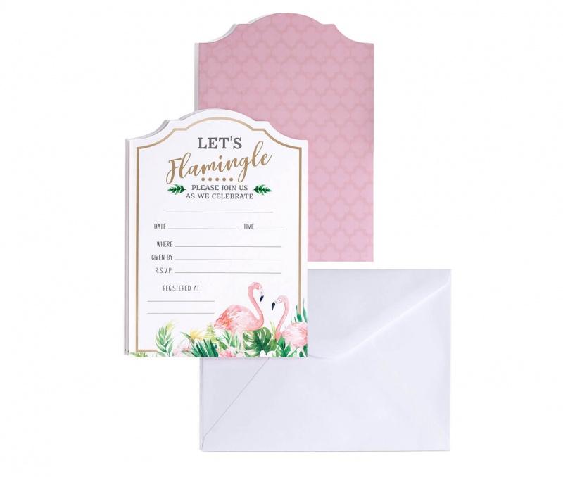Flamingo Theme Bridal Shower Invitation Set Of 24