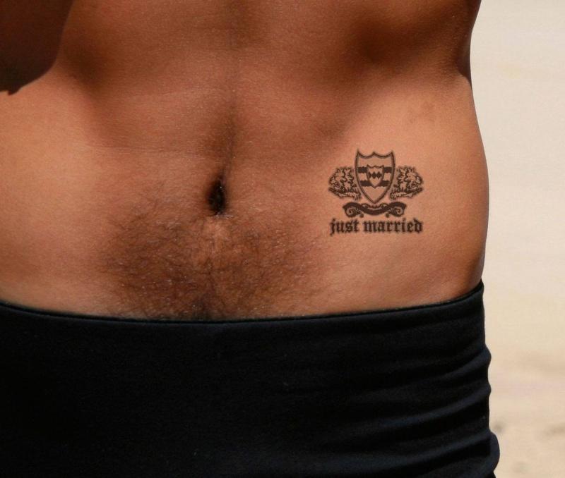 Just Married Groom Honeymoon Tattoo