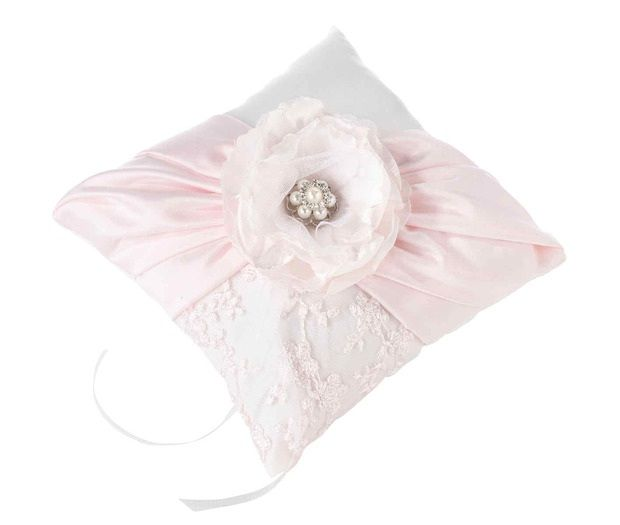 Vintage Blush Rhinestone Ring Pillow