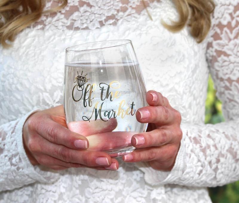 """Off The Market"" Stemless Wine Gla"