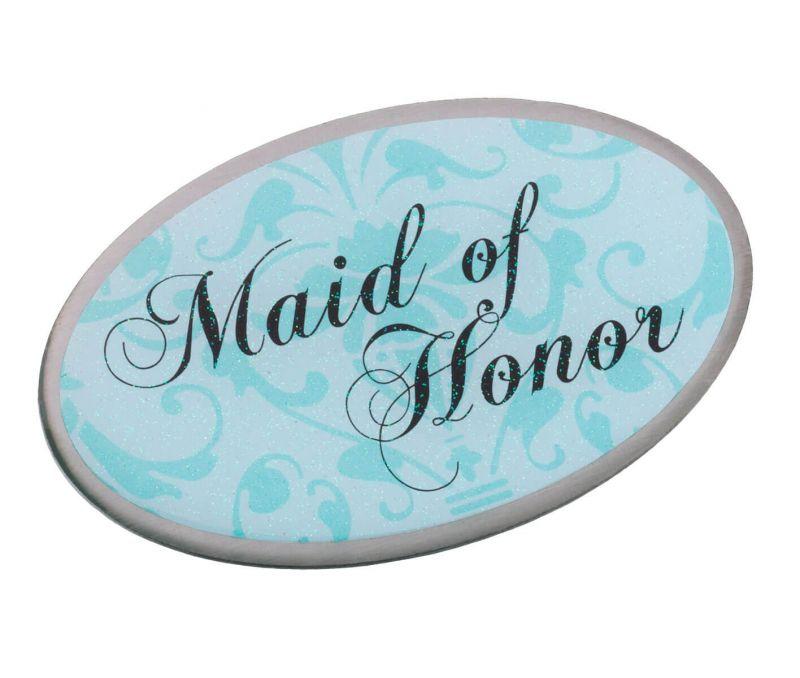 Aqua Maid Of Honor Oval Pin