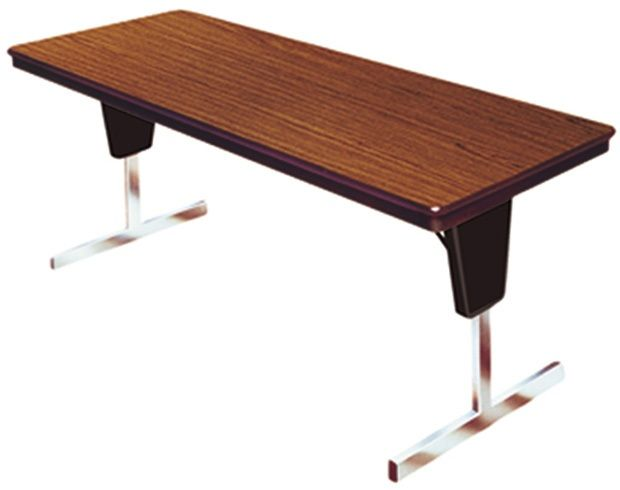 """Mitchell Saturna Rectangular Folding Table with Chrome """"T"""" Adjustable Legs: 96"""" x 30"""", 29"""" Height"""