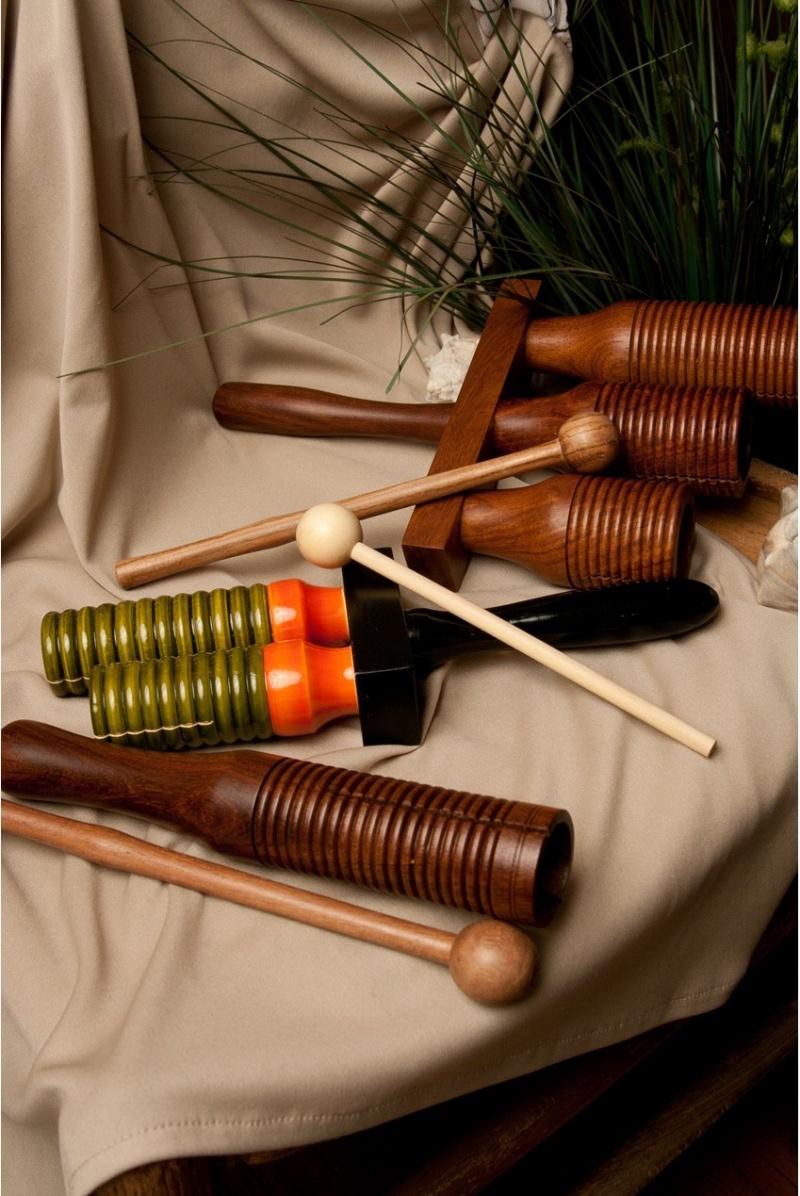 Dobani Wooden Double Bell Agogo W/ Mallet - 9.5 X 3.3-Inch- Green & Orange