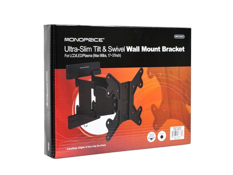 Monoprice Slimselect Series Low Profile Full-motion Articulating Tv Wall Mount Bracket For Led Tvs 23in To 42in, Max Weight 66 Lbs., Vesa Patterns Up To 200x200, Works With Concrete And Brick