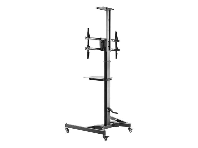 Monoprice Commercial Series Premium Adjustable Mobile Tilt Tv Wall Mount Bracket Stand Cart With Media Shelf, For Tvs 37In To 70In, Max Weight 110Lbs, Rotating, Height Adjustable W/ Vesa Up To 600X400