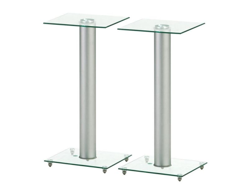 """Mono"""" Glass Speaker Stand With Cable Management (Pair), Silver"""