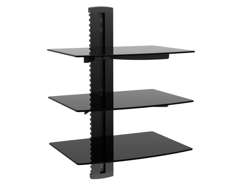 Mono Tier Electronic Component Glass Shelf Wall Mount Bracket With Cable Management System