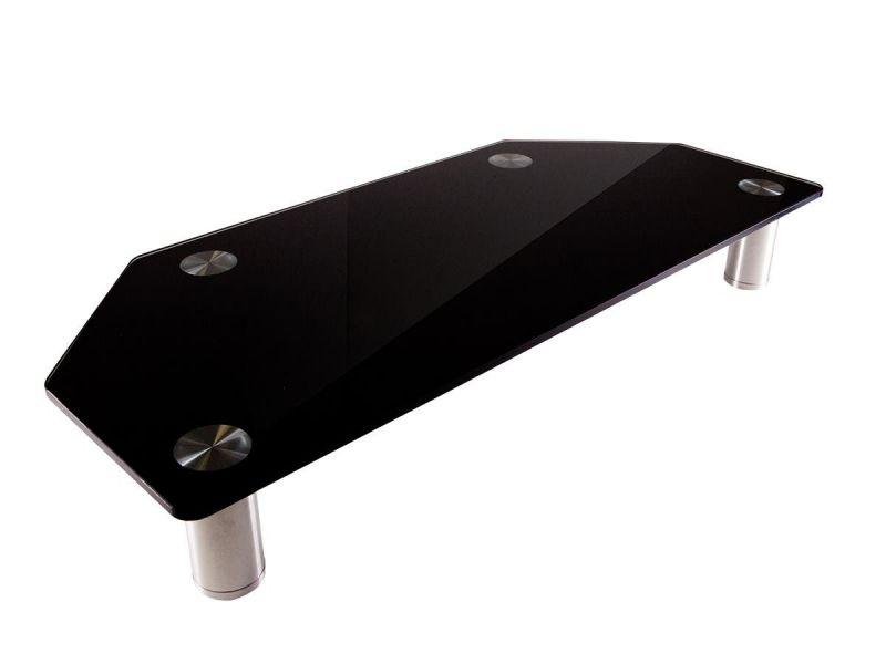 Workstream By Monoprice Corner Multimedia Desktop Monitor Stand, Black Glass