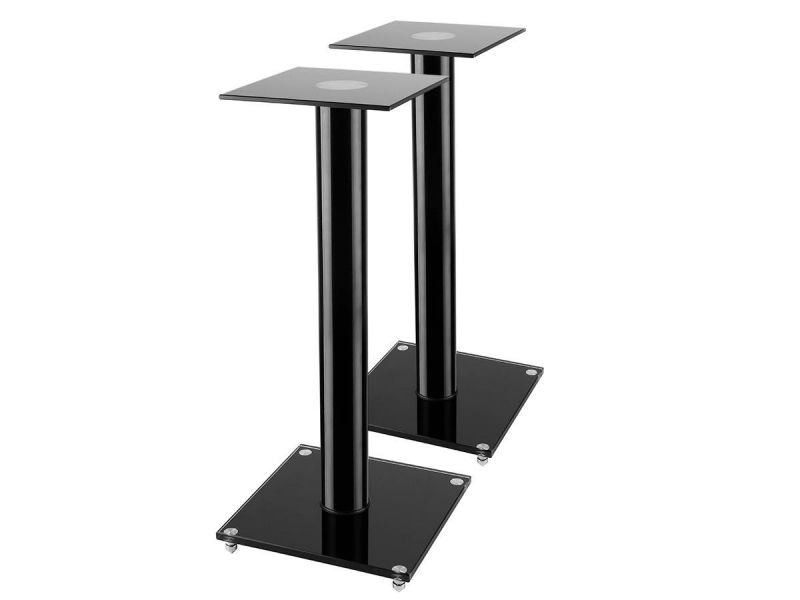 """Mono"""" Black Glass Speaker Stand With Cable Management (Pair), Black"""