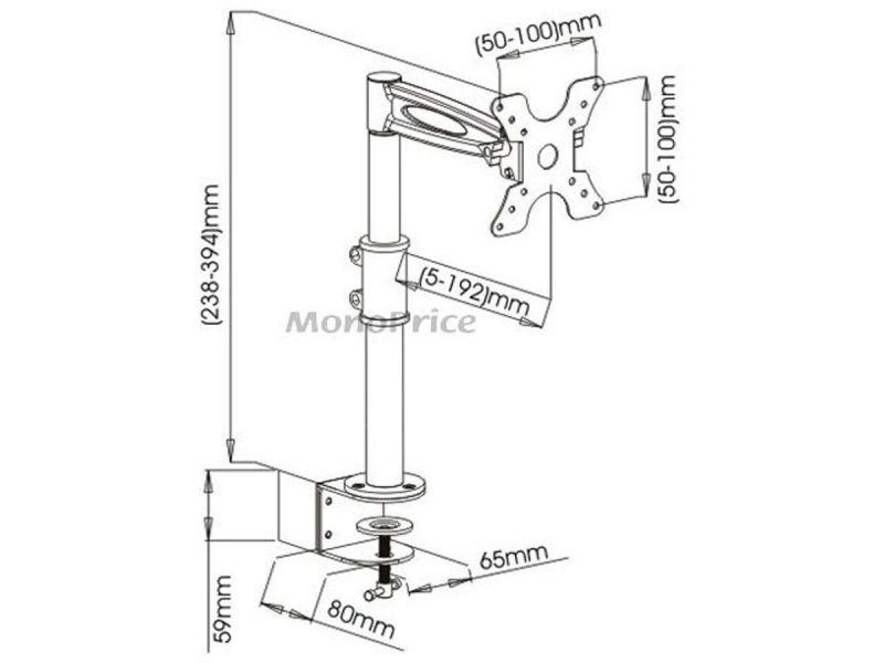 Mono-way Adjustable Tilting Desk Mount Bracket For 13~30in Monitors, Black