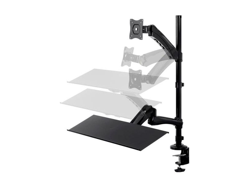 Workstream By Monoprice Sit-Stand Articulating Monitor And Keyboard Workstation