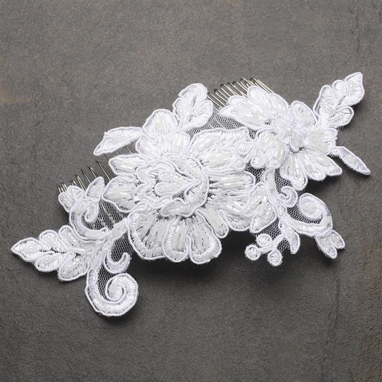 Romantic English Rose White Lace Bridal Comb