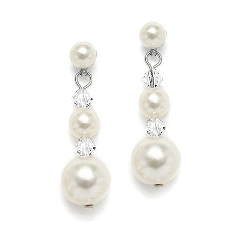 Graduated Pearl & Crystal Bridal Earrings