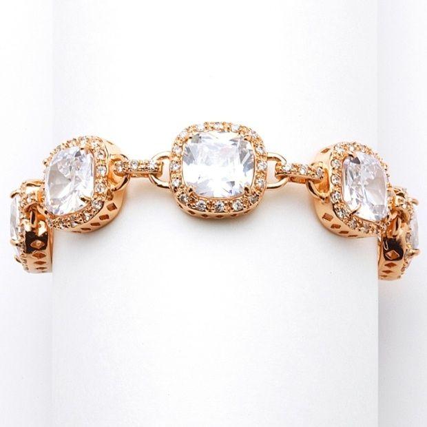 Magnificent Rose Gold Petite Length Cushion Cut Cz Bridal Or Pageant Bracelet
