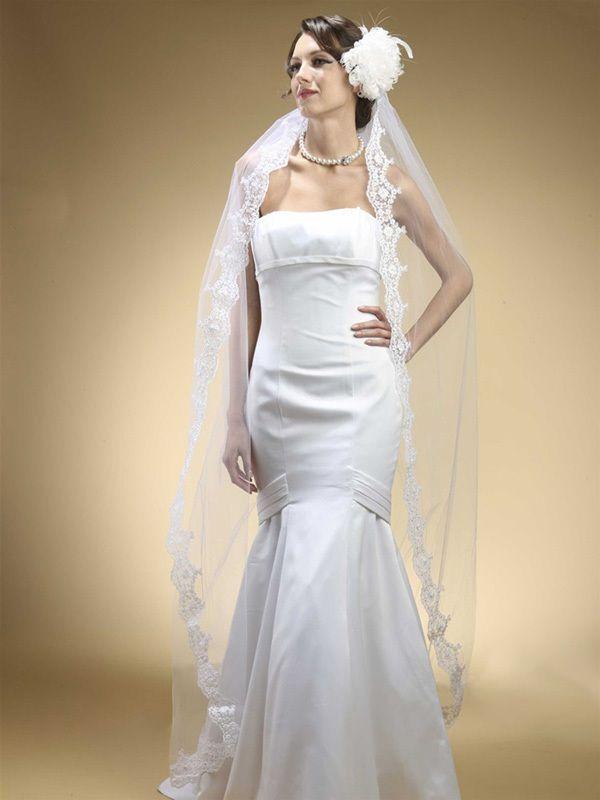 Floor Or Chapel Length Wedding Mantilla Veil With Lace