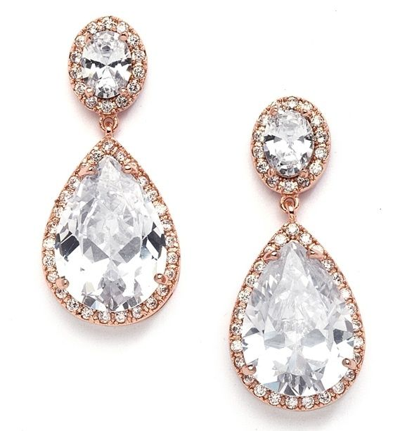 Best-selling Cubic Zirconia Rose Gold Pear-shaped Bridal Earrings - Pierced