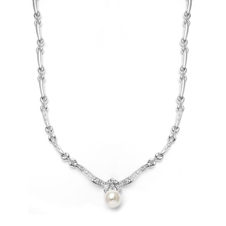 Sleek Designer Pearl & Cubic Zirconia Wedding Necklace