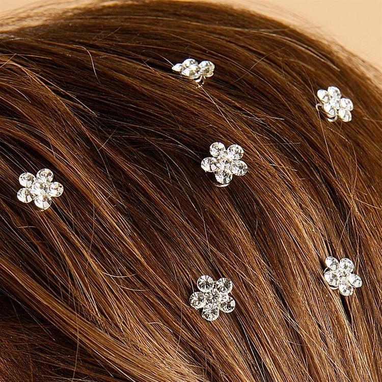 Prom Or Bridesmaid Crystal Flower Hair Spirals