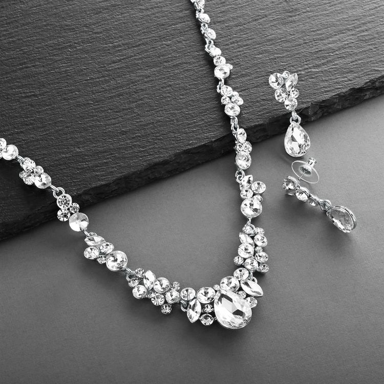 Regal Crystal Bridal Or Prom Necklace & Earrings Set