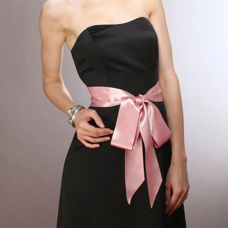 Blush Color Double Sided French Satin Ribbon Sash