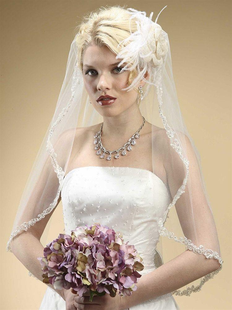 Rhinestone Edge Mantilla Wedding Veil With Floral Appliquè - White