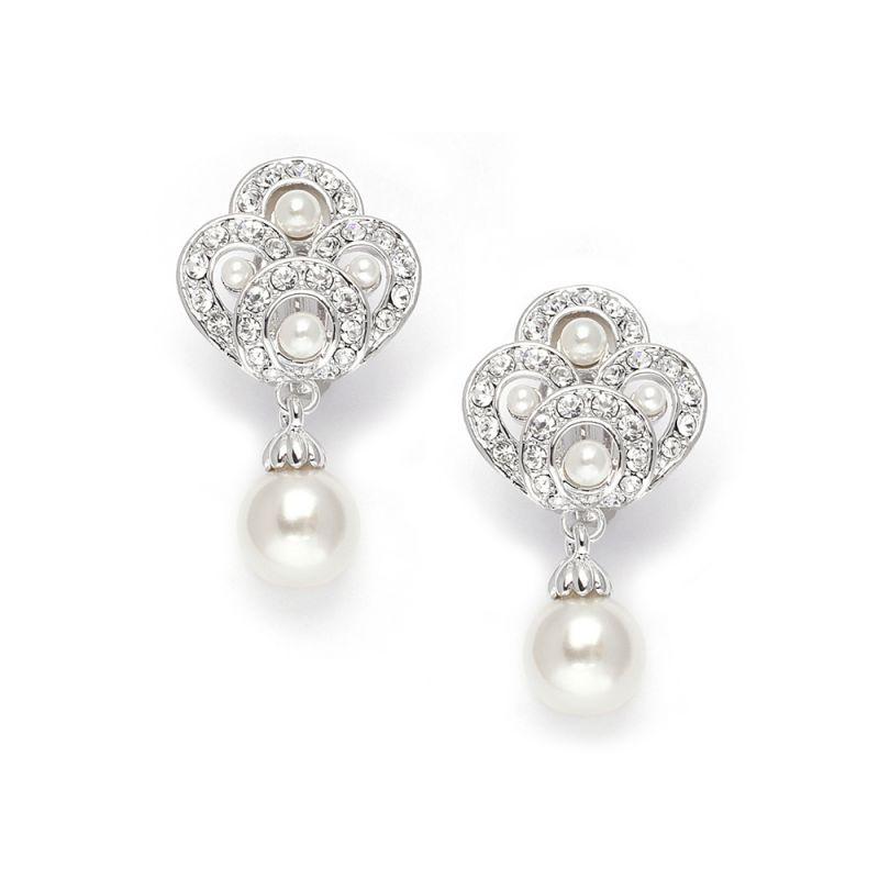 Art Deco Cubic Zirconia & Pearl Drop Wedding Earrings