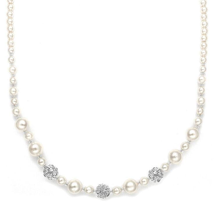 Dainty Wedding Necklace With Pearls & Rhinestone Fireballs - Ivory