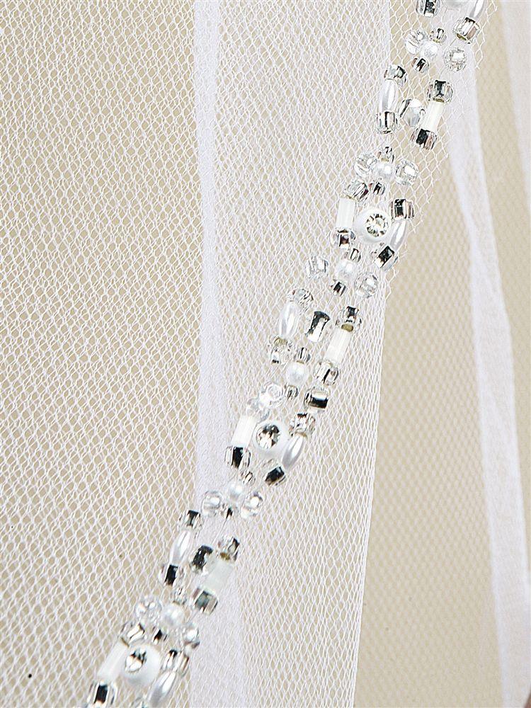 Rhinestone Edge Fingertip Wedding Veil With Pearls, Beads & Crystals - Ivory