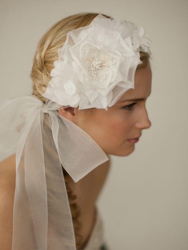 Handmade Ivory Silk Flower Bridal Headband With Wide Sheer Ribbon