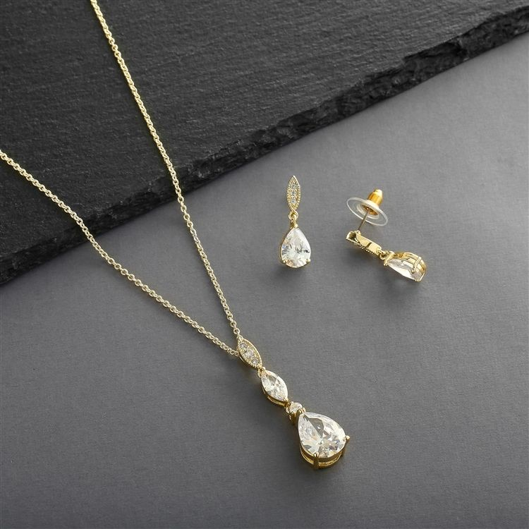 Bridal Necklace Set With Pave Top & Cubic Zirconia Pears