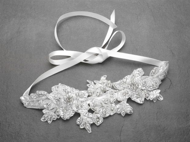 Sculptured White Lace Wedding Headband With Crystals & Beads