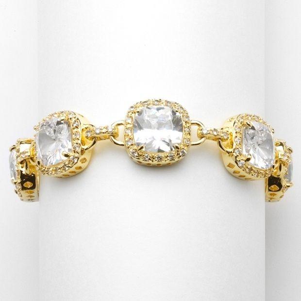 """Magnificent Gold 6 1/2"""" Popular Petite Length Cushion-Cut Cz Bracelet"""