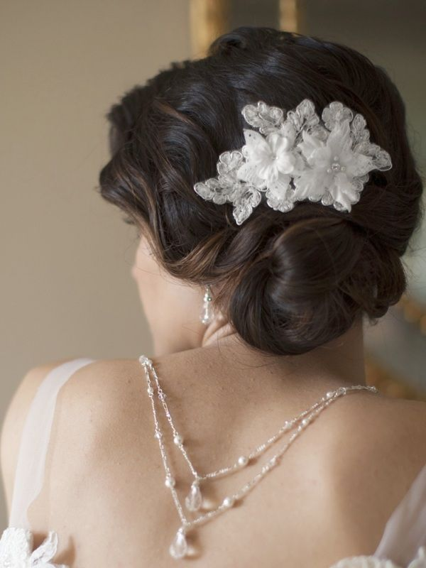 Sophisticated Handmade Bridal Comb With White Beaded Floral Lace Applique