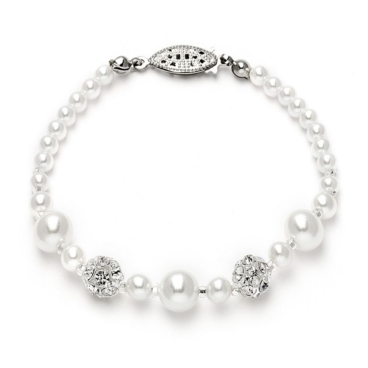 Dainty Wedding Bracelet With Pearls & Rhinestone Fireballs - White