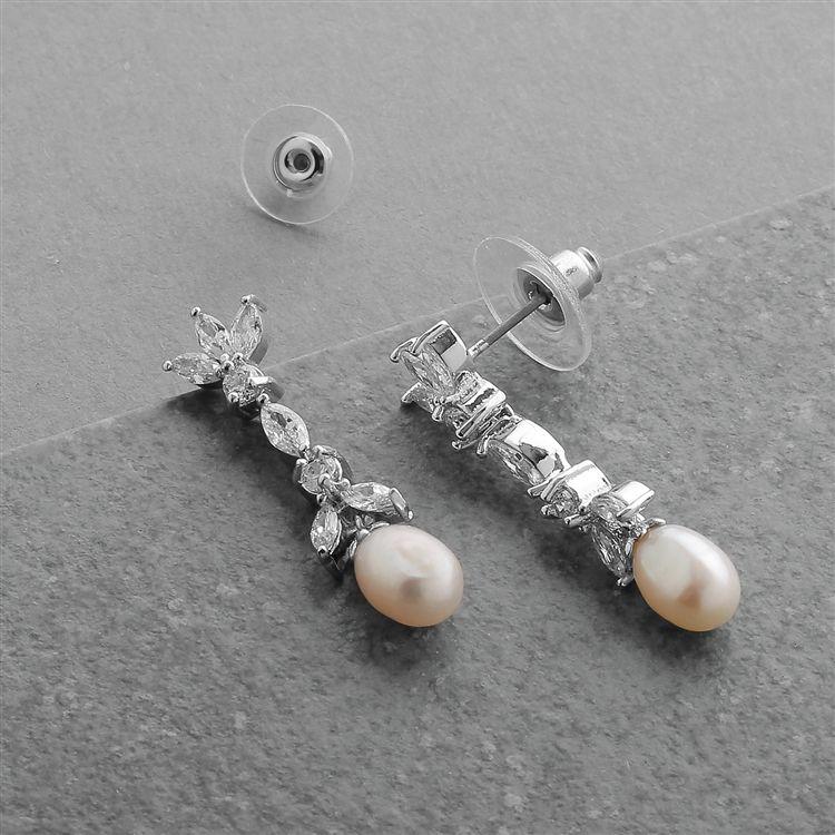 Freshwater Pearl & Cubic Zirconia Tulip Wedding Earrings
