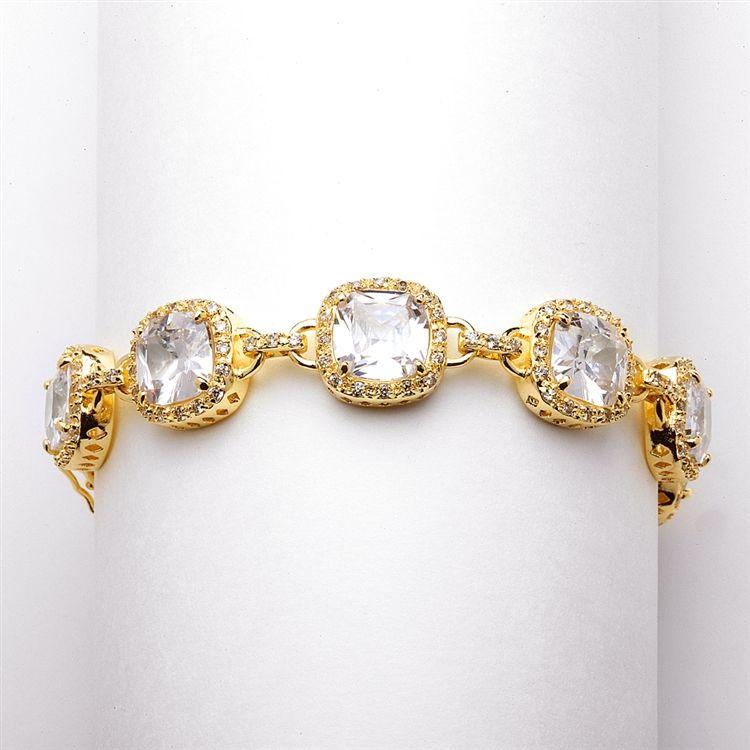"""Plus Size 8"""" Magnificent Cushion Cut Cz Gold Bridal Bracelet"""