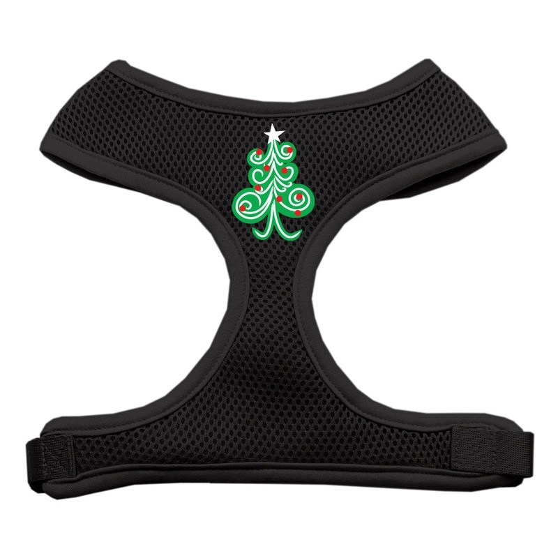 Swirly Christmas Tree Screen Print Soft Mesh Pet Harness Black Small