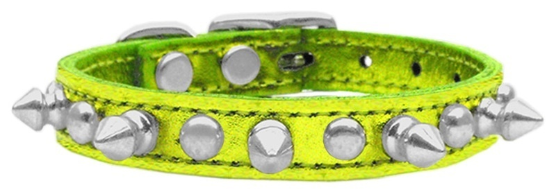 Metallic Chaser Leather Dog Collar Lime Green Mtl 16