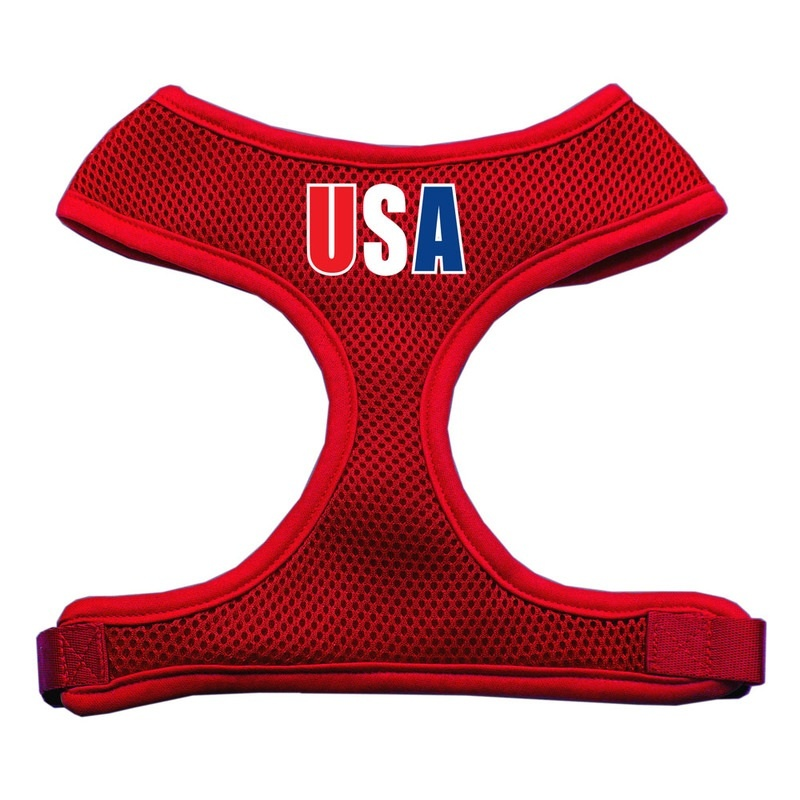Usa Star Screen Print Soft Mesh Pet Harness Red Extra Large