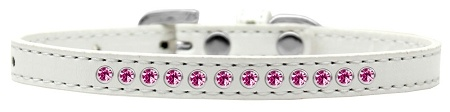 Bright Pink Crystal Size 8 White Puppy Collar